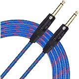 """KLIQ Guitar Instrument Cable, 10 Ft - Custom Series with Premium Rean-Neutrik 1/4"""" Straight Gold Plugs, Blue/Red Tweed"""