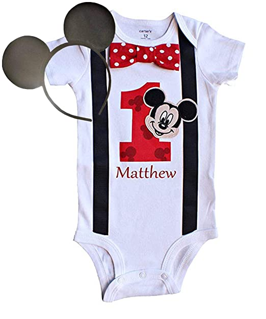 5771bc961708b Perfect Pairz Baby Boys 1st Birthday Outfit Mickey Mouse Bodysuit  Personalized