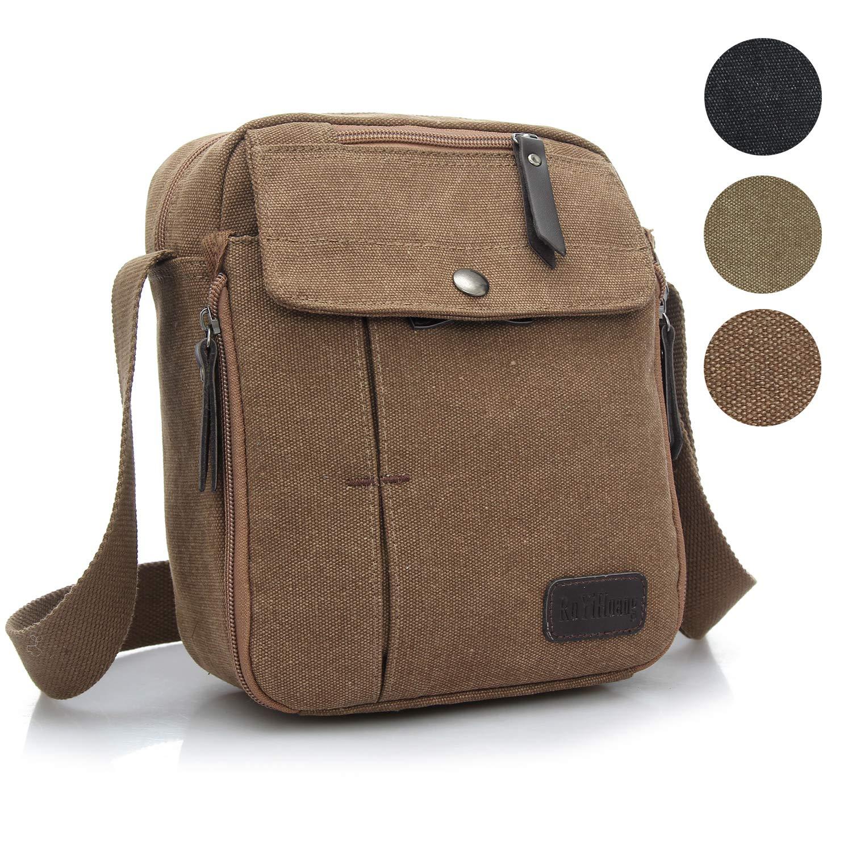 Injoy Men's Multifunctional Canvas Messenger Bag, Vintage Handbag Purse Shoulder Crossbody Side Bag Outdoor Sports Travel,coffee