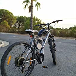 Ambienceo 80cc 2 tiempos Ciclo de pedal Gasolina Gas Motor Kit de conversión de bicicleta para bicicleta motorizada Plata: Amazon.es: Deportes y aire libre