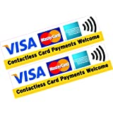 2x Contactless Card Payments Welcome Visa MasterCard AMEX Credit Card Sticker Printed Vinyl Shop Taxi