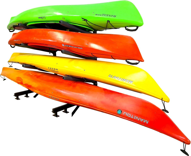 StoreYourBoard 4 Kayak Dock Storage Rack, Outdoor Over The Water Mount, Holds 400 lbs, Heavy-Duty Metal Stand