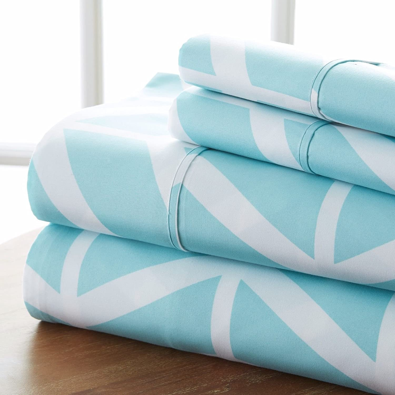 Premium - Ultra Soft - 4 Piece Bed Sheet Sets/Arrow/Turquoise/King