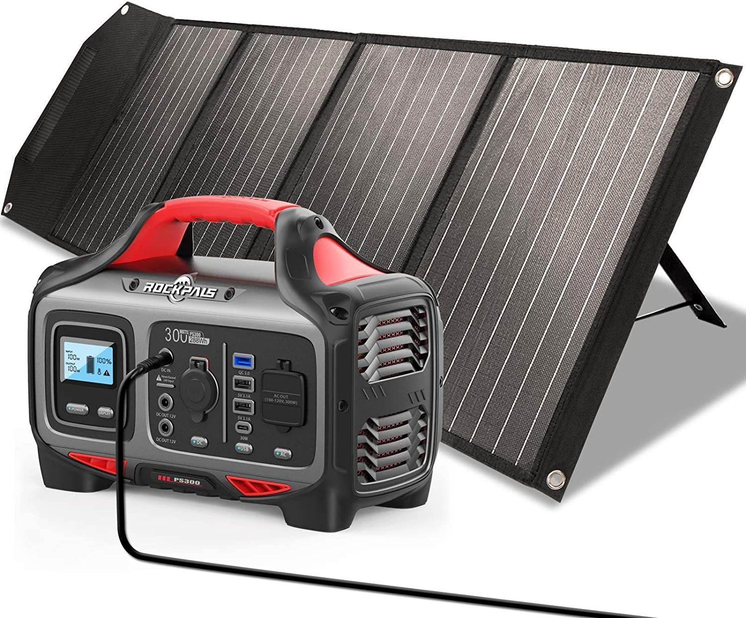 ROCKPALS 300W Portable Power Station and ROCKPALS 100W Upgraded Solar Panel, Great Solar Generator for Backup Power, Outdoor Adventure and Camping