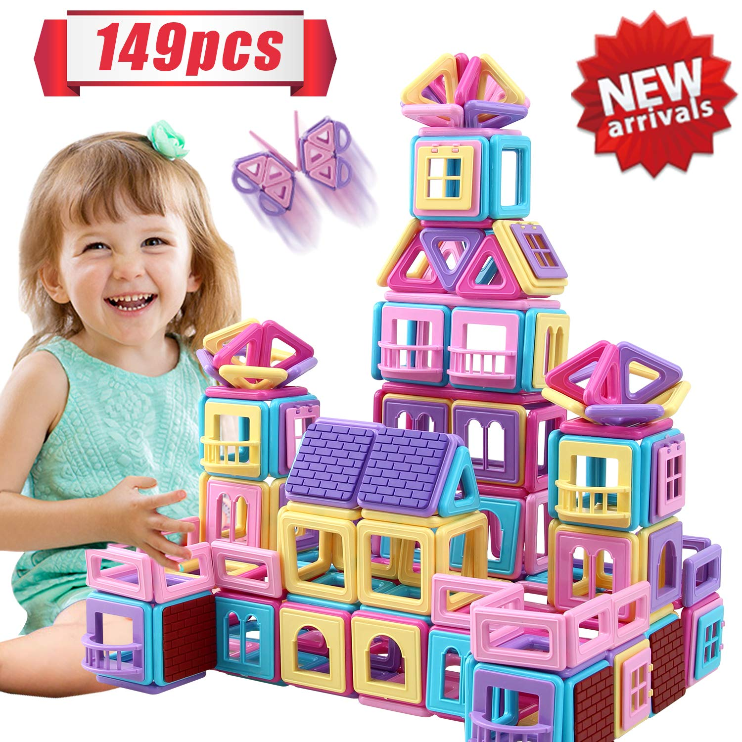 HOMOFY 149PCS Castle Magnetic Blocks for Boys Girls Kids -3D Macaron Colors Learning & Development Magnetic Tiles Building Blocks Toys for 3+ Years Old Toddlers Gifts