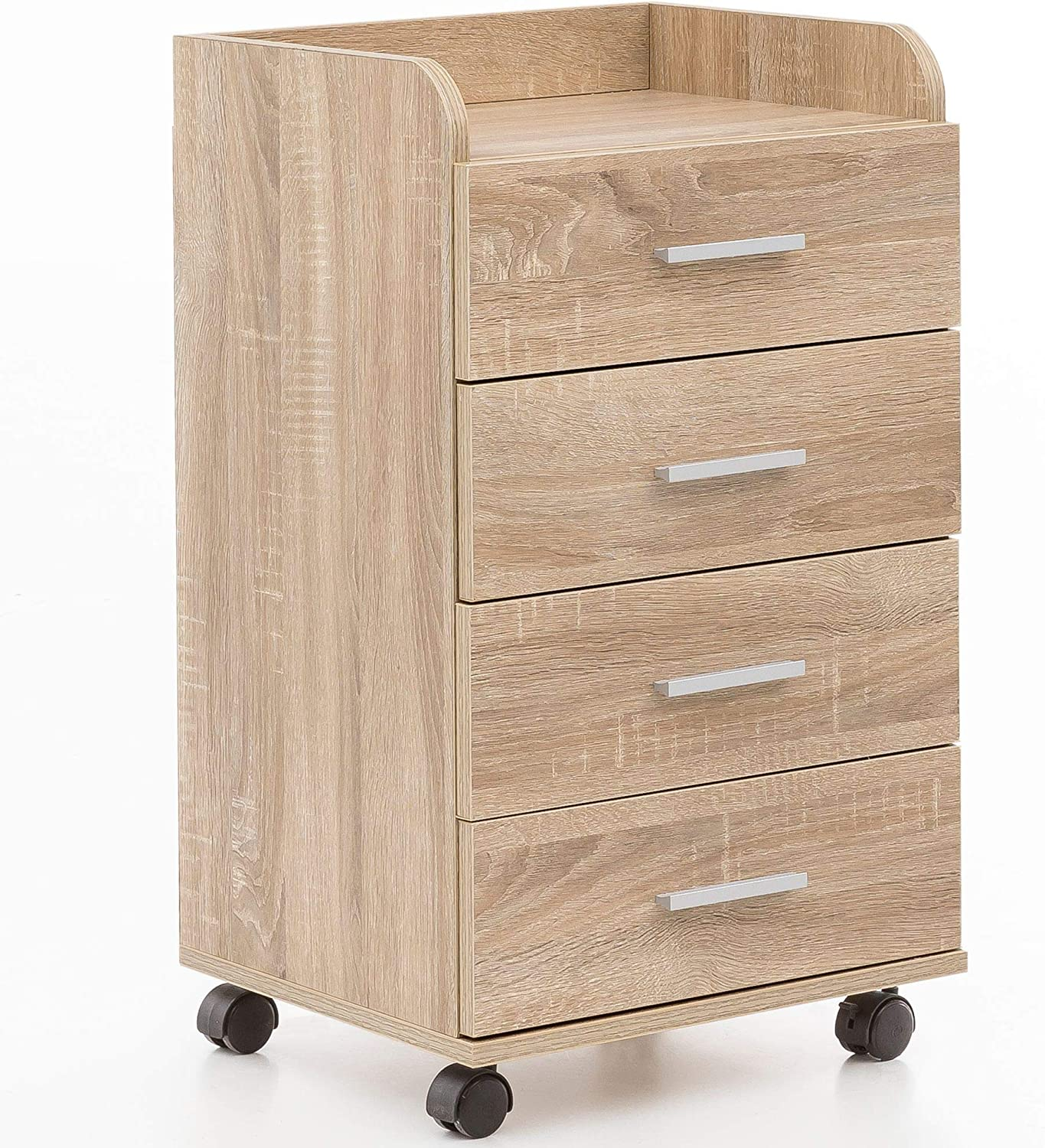 Wohnling WL16.16 Rollcontainer, Holz, Sonoma, 16 x 16,16 x 16 cm