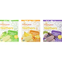 Happy Baby Organic Teethers Gentle Teething Wafers 3 Flavor Sampler Bundle: (1) Pea & Spinach Teething Wafers, (1) Sweet…