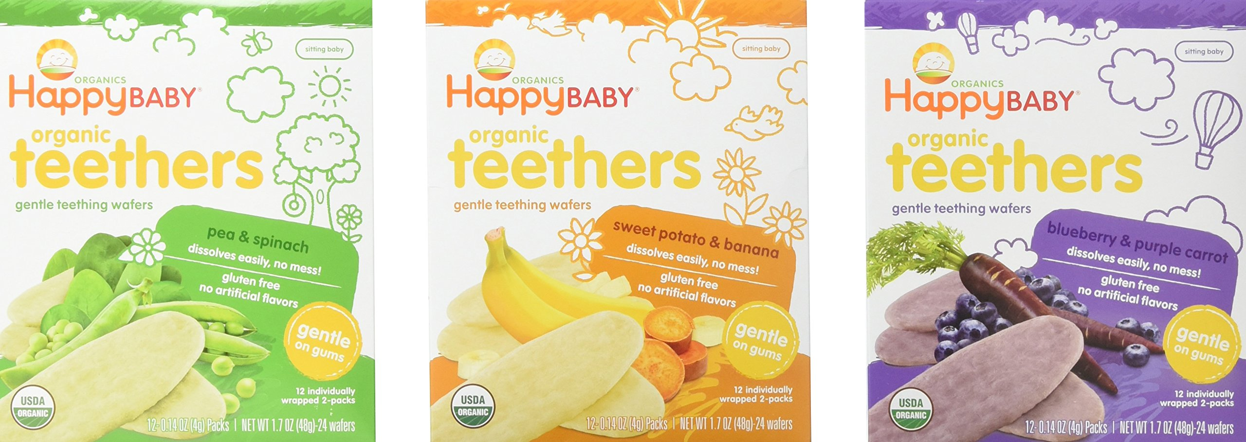 Happy Baby Organic Teethers Gentle Teething Wafers 3 Flavor Sampler Bundle: (1) Pea & Spinach Teething Wafers, (1) Sweet Potato & Banana Wafers, and (1) Blueberry & Purple Carrot Wafers, 1.7 Oz. Ea. by Happy Baby