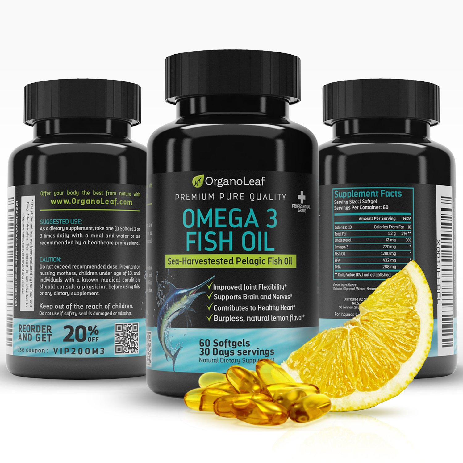 OrganoLeaf - Omega 3 Fish Oil Supplement, Premium, Sea-Harvested Pelogic Fish Oil Supports the Immune and Cardio-Vascular System, Triple Strength 2400mg, Lemon Flavor, 60 Softgels