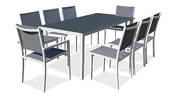 Oviala Table de Jardin en Aluminium et Verre 8 Places