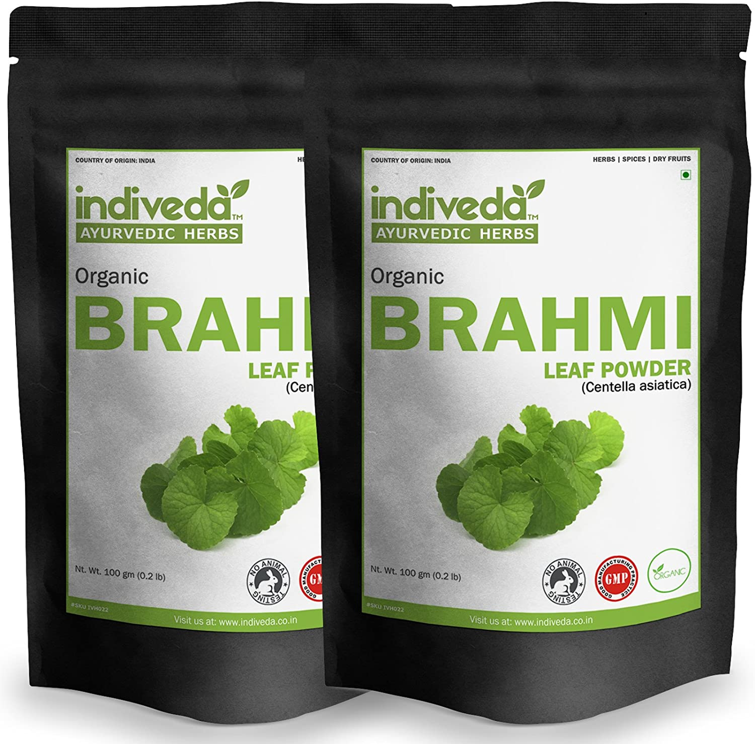 Indiveda Organic Brahmi Centella asiatica Powder for Support Healthy Brain, 100 Grams* Pack of 2