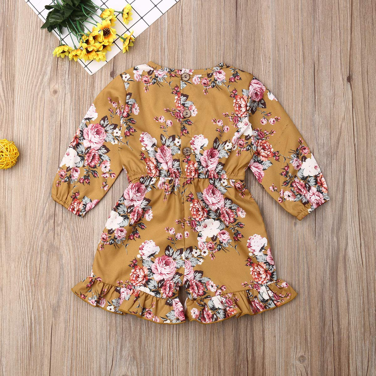 Fashion Summer Toddler Kids Twins Baby Girl Floral Sleeveless Romper Jumpsuit Ruffle Outfits