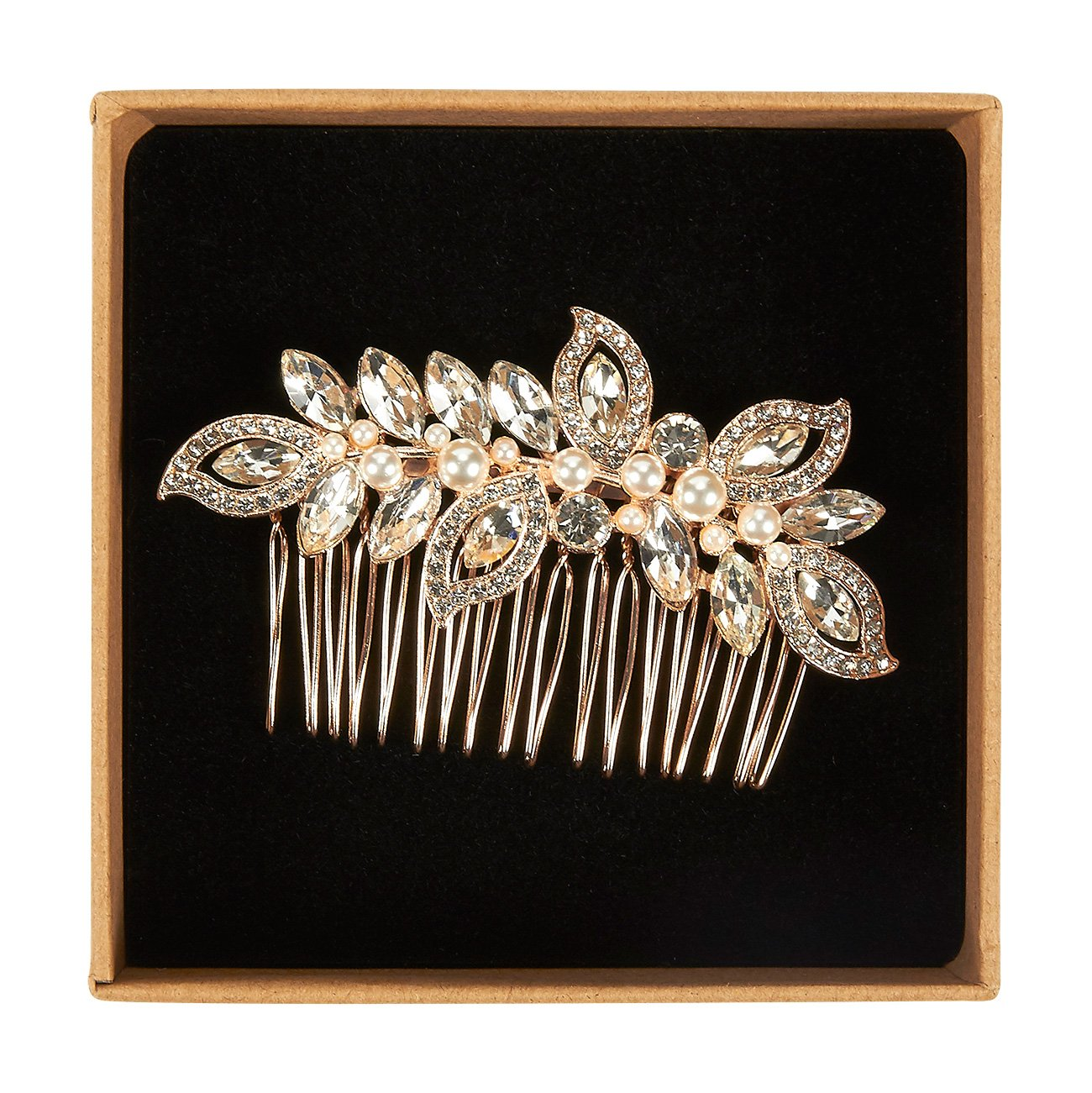 Bridal Hair Comb - Decorative Rhinestone Wedding Comb for Bridesmaids, Engagement Parties, Bridal Showers, Rose Gold - 3.5 x 0.39 x 2.13 Inches by Juvale