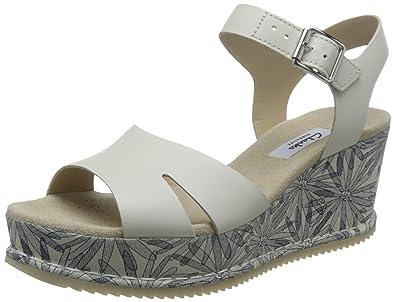 42f4bd180d6 CLARKS Chaussures Sandales Compensées Femme 26123176 Akilah Eden Blanc  Taille 39 Blanc