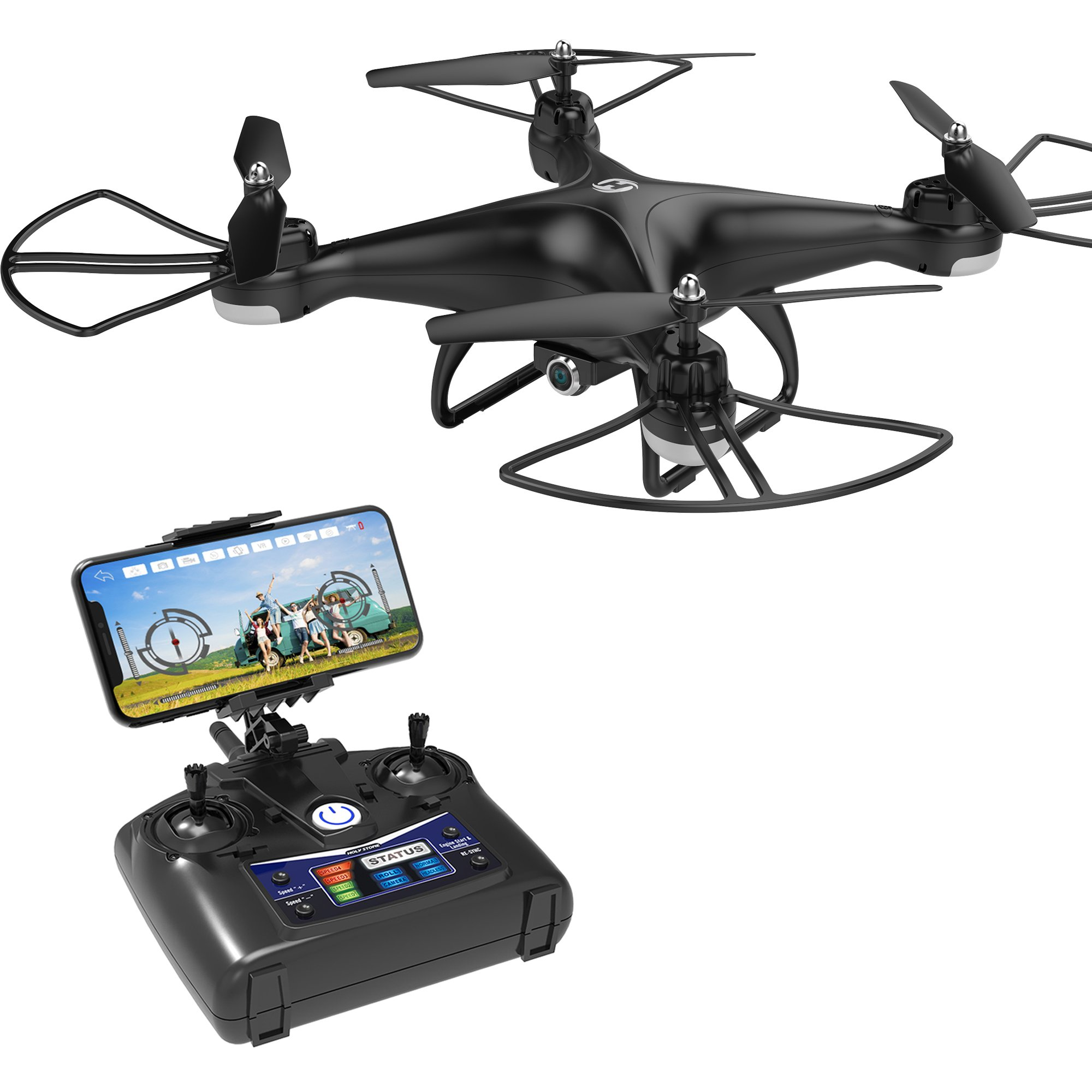 Holy Stone HS110D FPV RC Drone with 720P HD Camera Live Video 120° Wide-Angle WiFi Quadcopter with Altitude Hold Headless Mode 3D Flips RTF with Modular Battery, Color Black by Holy Stone