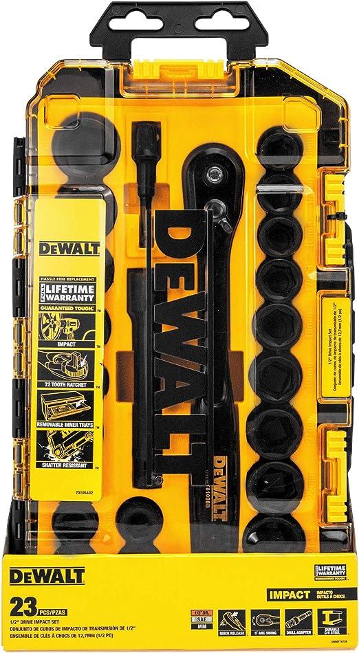 DEWALT DWMT74739 23 pezzi Set di chiavi a bussola combinate da 1//2