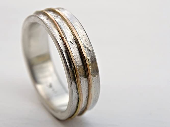 0b1ce16a0afd0 Amazon.com: rustic wave ring gold silver, cool wedding band for men ...