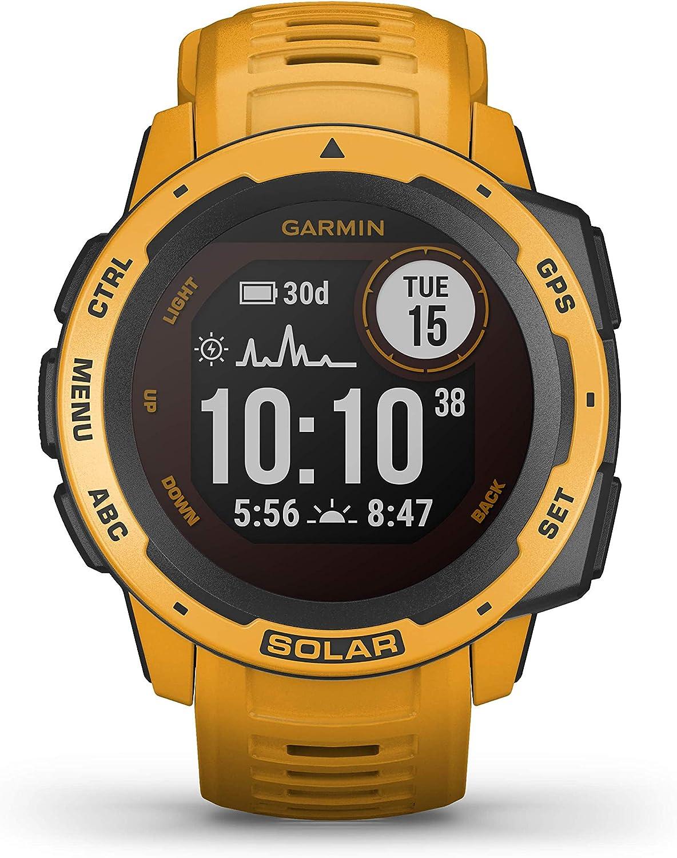 Garmin Instinct Solar, Reloj GPS resistente con carga solar - Amarillo Ocre
