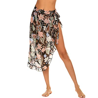 ADOME Women's Sarong Swimsuit Cover Up Summer Beach Wrap Skirt Chiffon Swimwear Bikini Cover-ups at Amazon Women's Clothing store