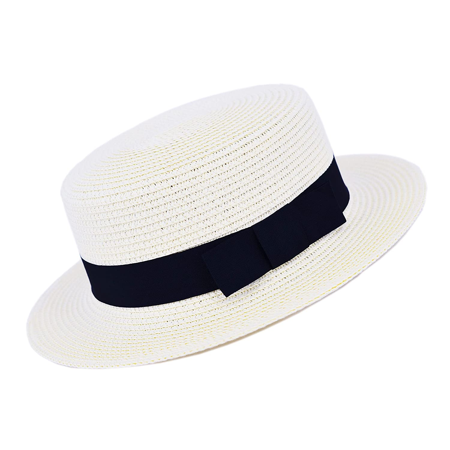 6b66cd19f7488 MATCH MUCH Straw Boater Hat (Cream Hat Wide Brim Knot Band) at Amazon Men s  Clothing store