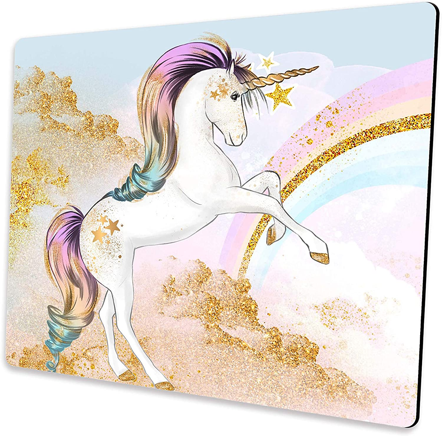 Pink Unicorn Mouse Pad, Art Golden Rainbow Mousepad, Computer Mousepads with Non-Slip Rubber Base, Mouse Pads for Computers, Laptop, Office & Home, 9.5x7.9x0.125 Inch