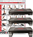 POWRX Steppbrett XL Premium inkl. Workout I 3-Stufen höhenverstellbar I Home-Stepper Stepbench Fitness Aerobic Gymnastik