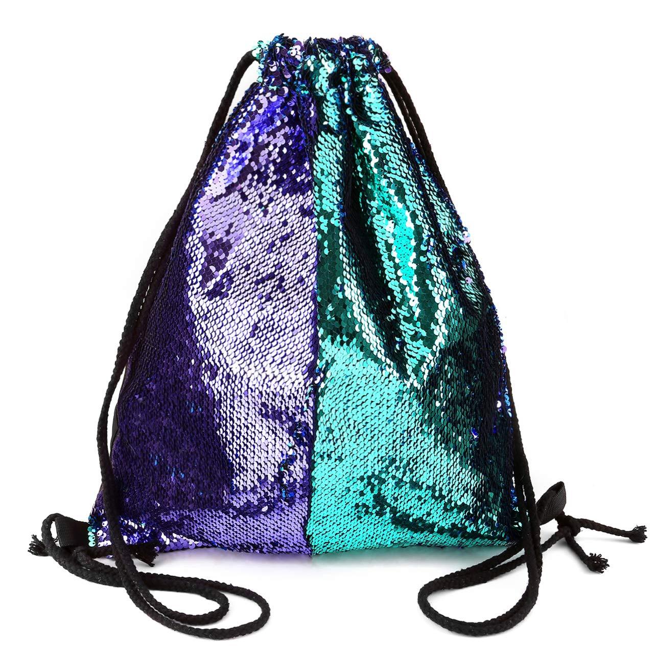 df3672cef7fe Ayliss Sequin Cinch Sack Drawstring Backpack Reversible Glitter Paillette  String Bag for Women/Men/Girls (Blue&Purple)