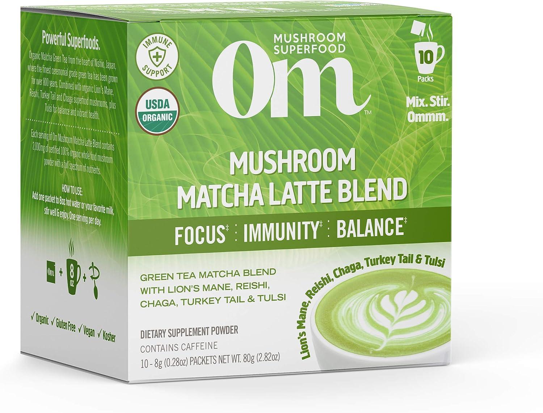 Om Organic Mushroom Superfood Powder, Matcha Latte Blend, 2.82 Ounce (10 Packets), Green Tea, Lions Mane, Reishi, Chaga, Turkey Tail, Focus & Stress Support Supplement