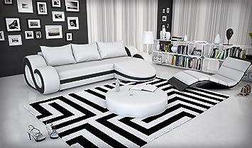 Eck Sofa Mit LED Beleuchtung Und Kunstleder Bezug Weiss Schwarz 290x160 Cm L