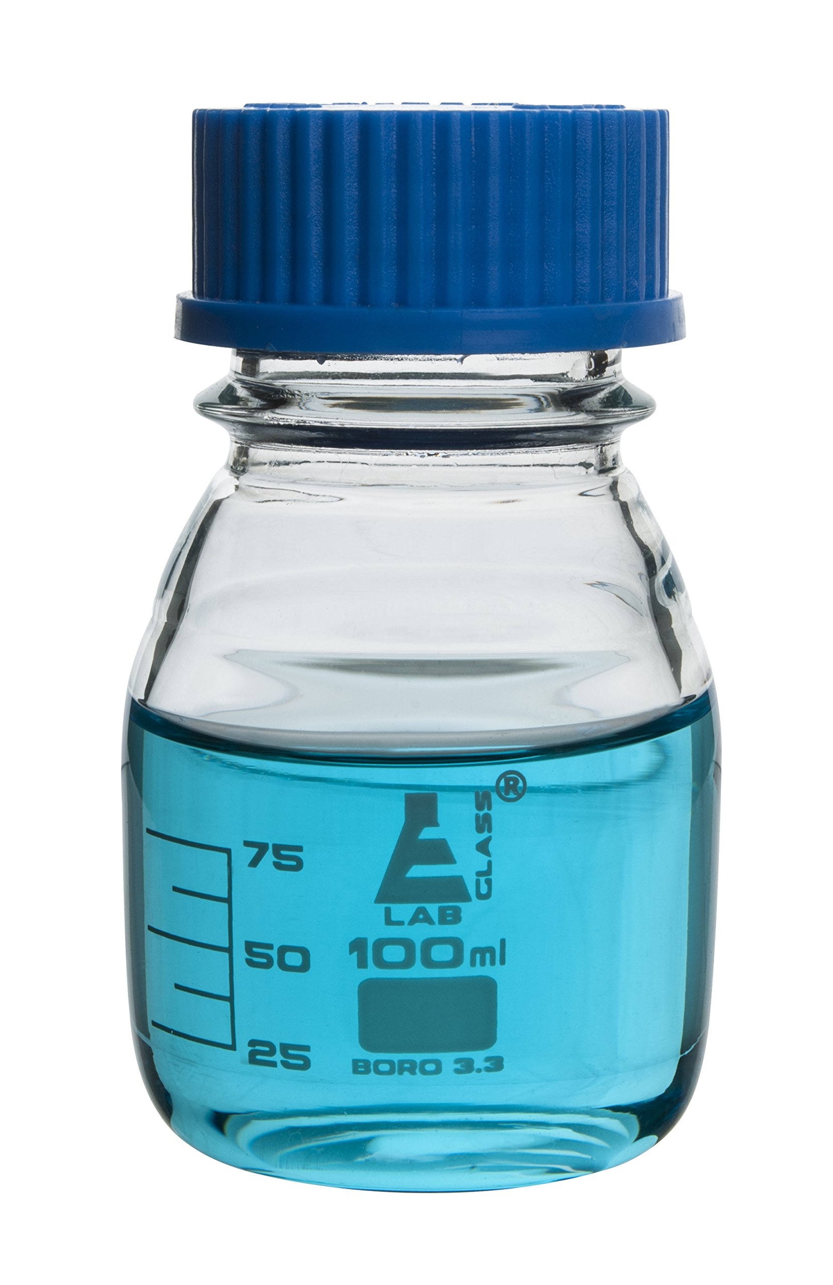 Eisco Labs 100ml Clear Reagent Bottle with Screw Cap and 10ml Graduations