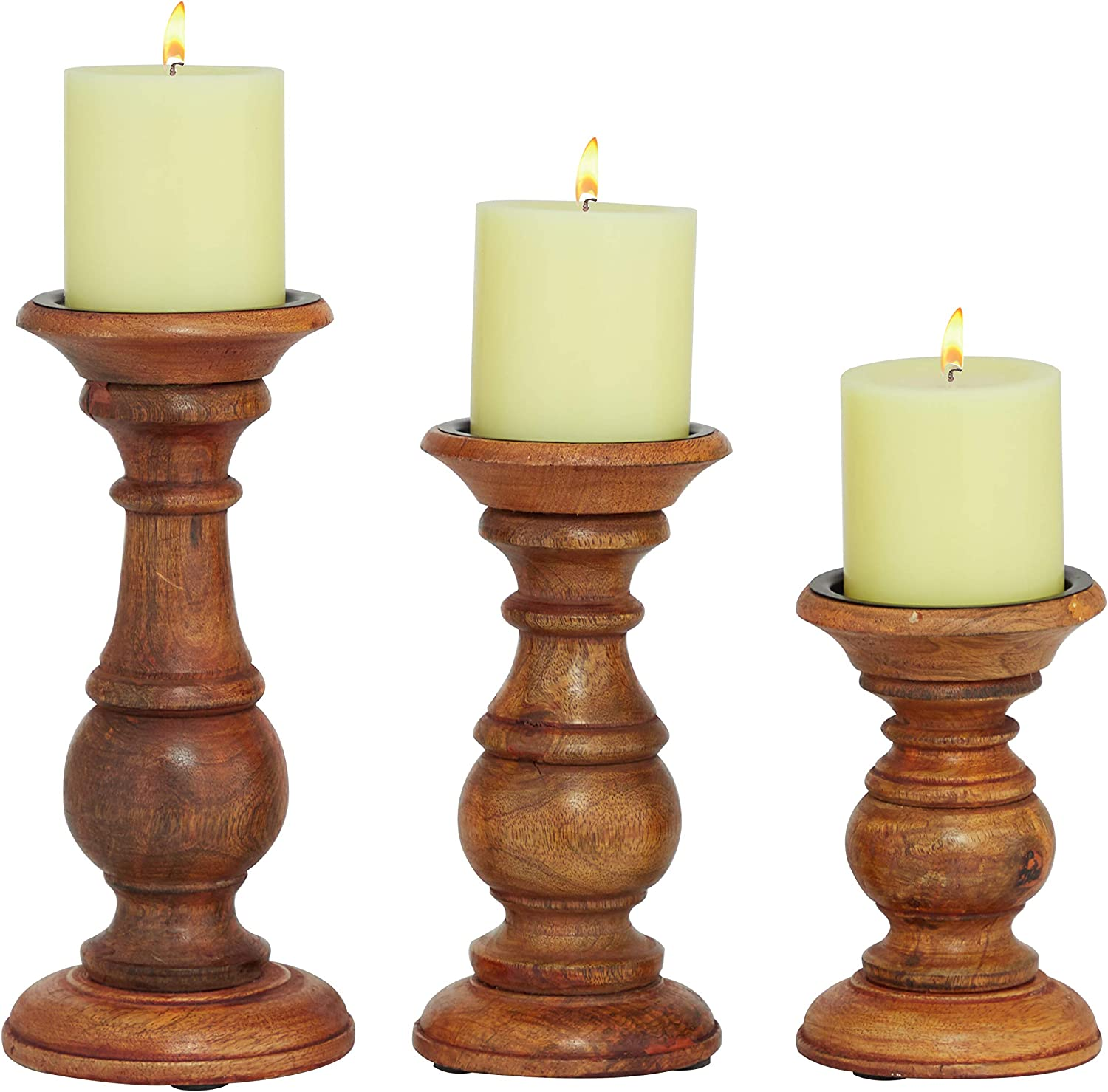 Medium Brown Deco 79 Candle Holder Sets Silver White