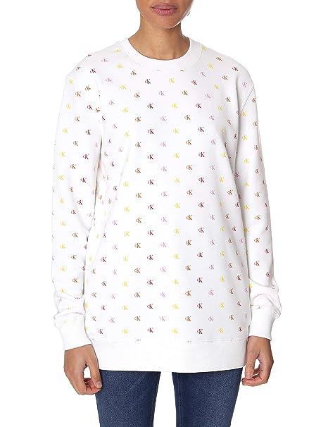 Calvin Klein Sudadera Jeans Monogram Blanco Mujer: Amazon.es: Ropa y accesorios