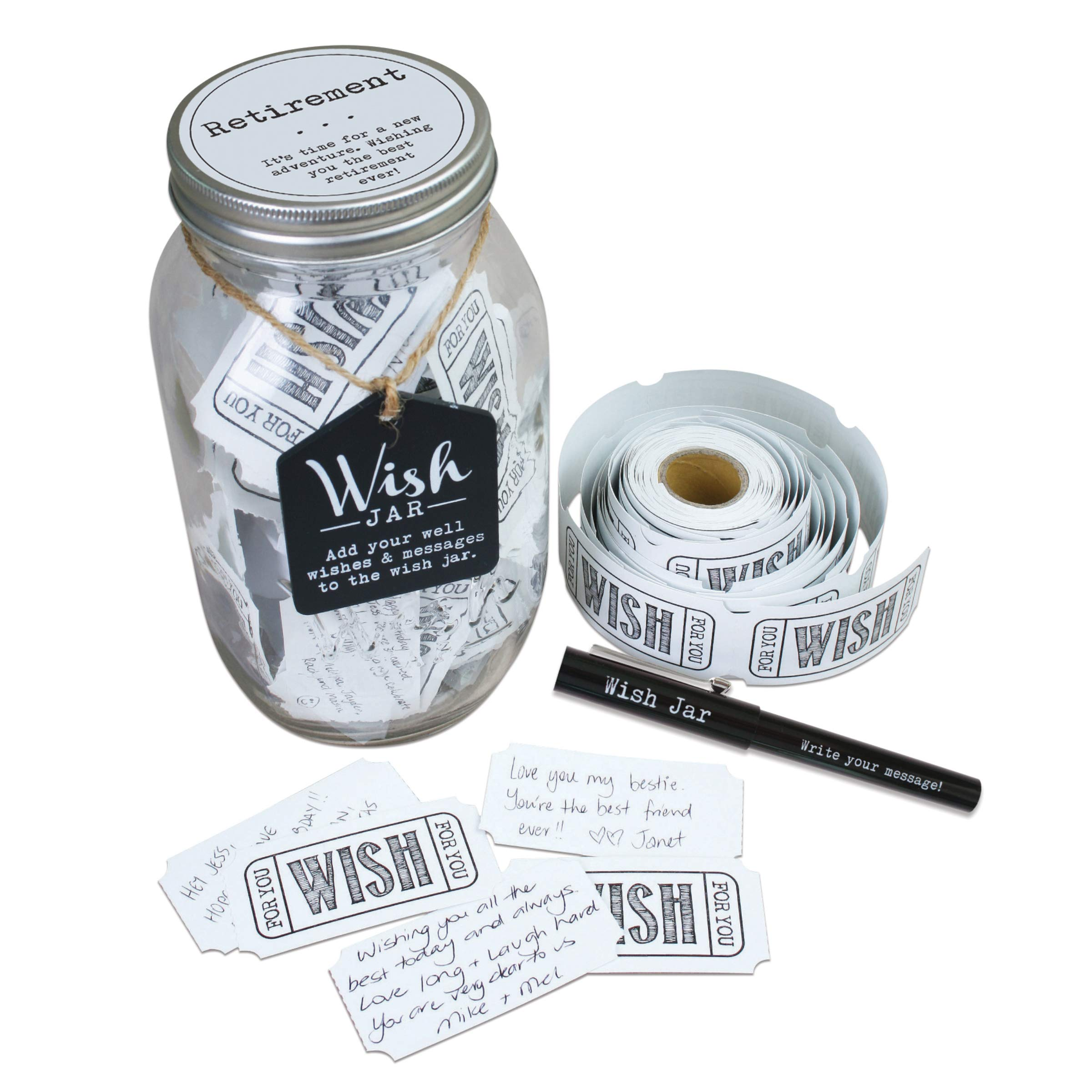 Top Shelf Retirement Wish Jar ; Personalized Gift for Men and Women ; Unique and Thoughtful Gift Ideas for Mom, Dad, Husband, Wife, Coworker, or Best Friend ; Kit Comes with 100 Tickets, Pen, and Lid by TOP SHELF