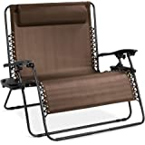 Best Choice Products 2-Person Double Wide Adjustable Folding Steel Mesh Zero Gravity Lounge Recliner Chair for Patio, Lawn, B