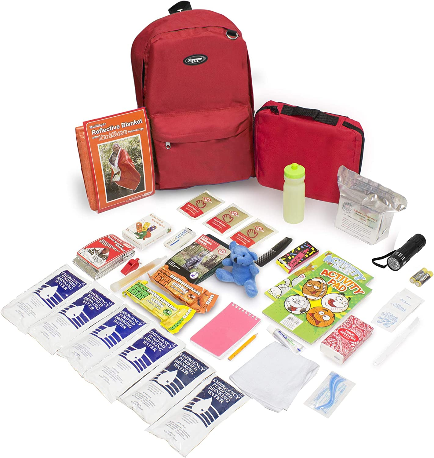 Emergency Zone Keep-Me-Safe Children's Deluxe 72-Hour Emergency Survival Kit | Perfect Way to Prepare Your Family for Disasters Like Hurricanes, Earthquake, Wildfires, and More