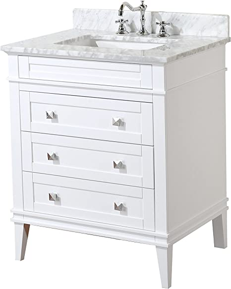 Amazon Com Eleanor 30 Inch Bathroom Vanity Carrara White Includes White Cabinet With Authentic Italian Carrara Marble Countertop And White Ceramic Sink Home Improvement
