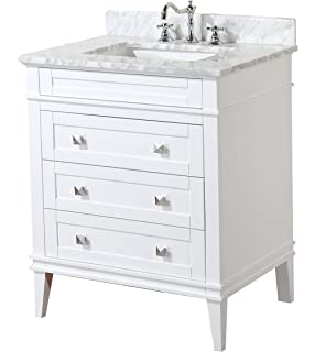 Kitchen Bath Collection KBC L30WTCARR Eleanor Bathroom Vanity With Marble  Countertop, Cabinet With Soft