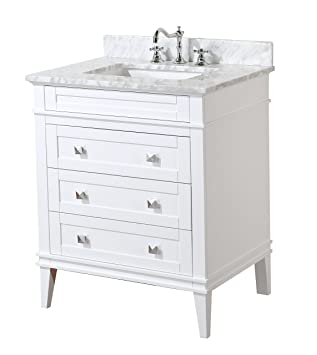 Kitchen Bath Collection KBCL30WTCARR Eleanor Bathroom Vanity with