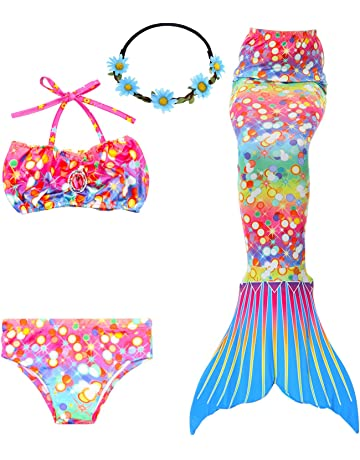 c735f3cc35 GALLDEALS 3PCS Girls' Swimsuit Mermaid Tail for Swimming Princess Bikini  Set Swimsuit Bathingsuit (No