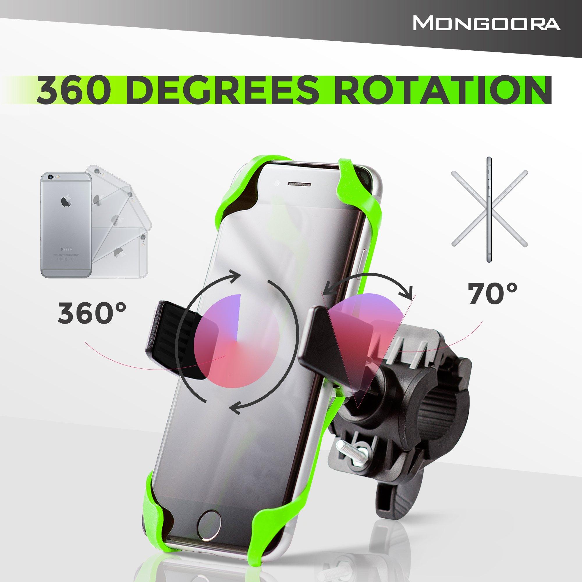 Bike Phone Mount for any Smart Phone: iPhone X 8 7 6 5 plus Samsung Galaxy S9 S8 S7 S7 S6 S5 S4 Edge, Nexus, Nokia, LG. Motorcycle, Bicycle Phone Mount. Mountain Bike Mount. Bike Accessories. by Mongoora (Image #9)