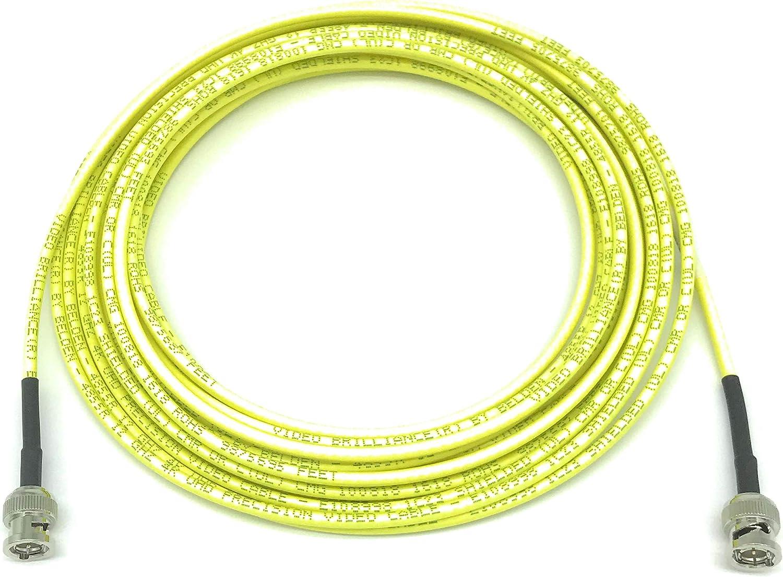 BNC Cable Belden 4855R Mini RG59 AV-Cables 12G 4K HD SDI BNC 6ft, Yellow