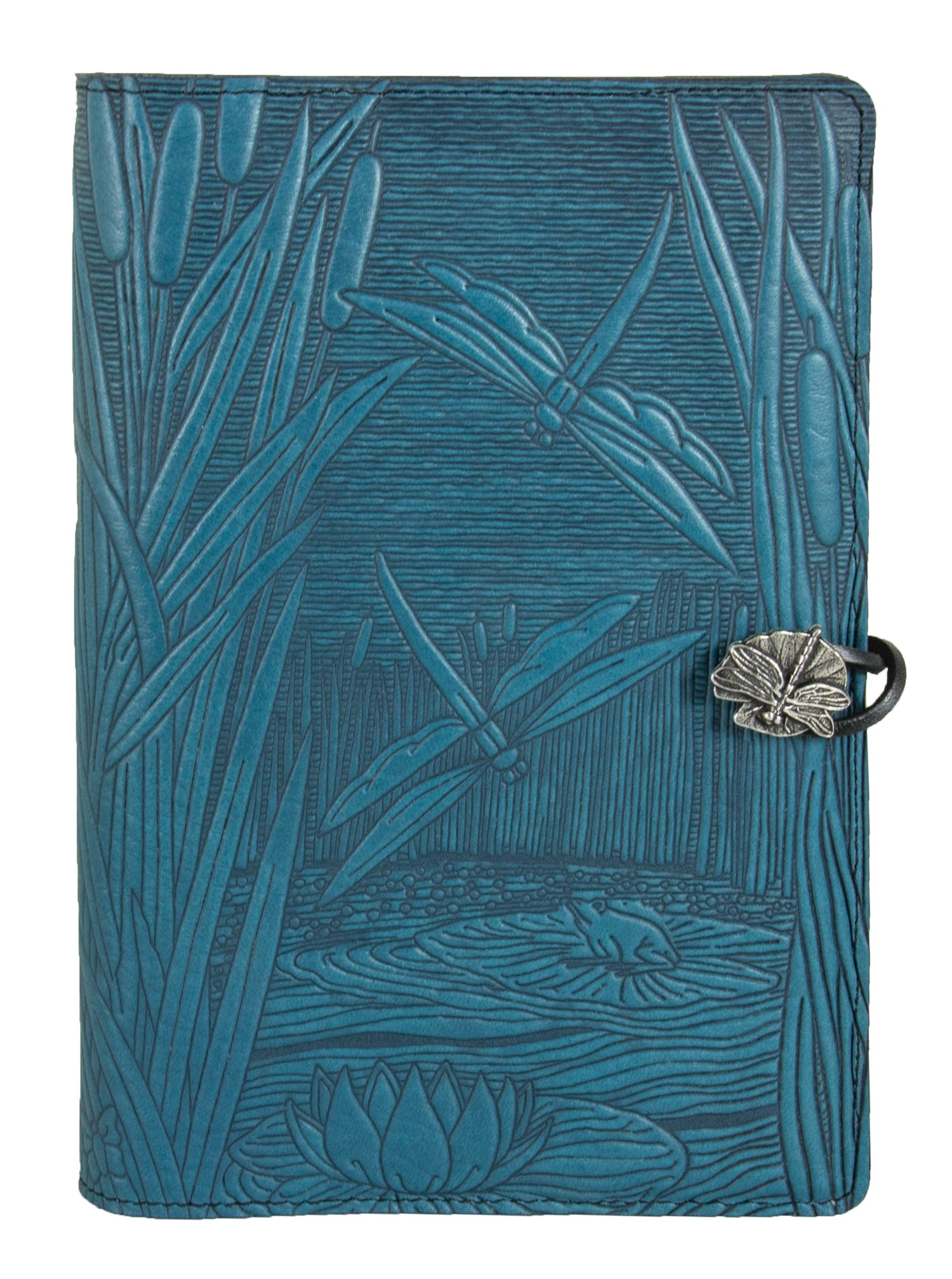 Genuine Leather Refillable Journal Cover + Hardbound Blank Insert - 6x9 Inches - Dragonfly Pond, Sky Blue With Pewter Button - Made in the USA by Oberon Design by Oberon Design (Image #2)