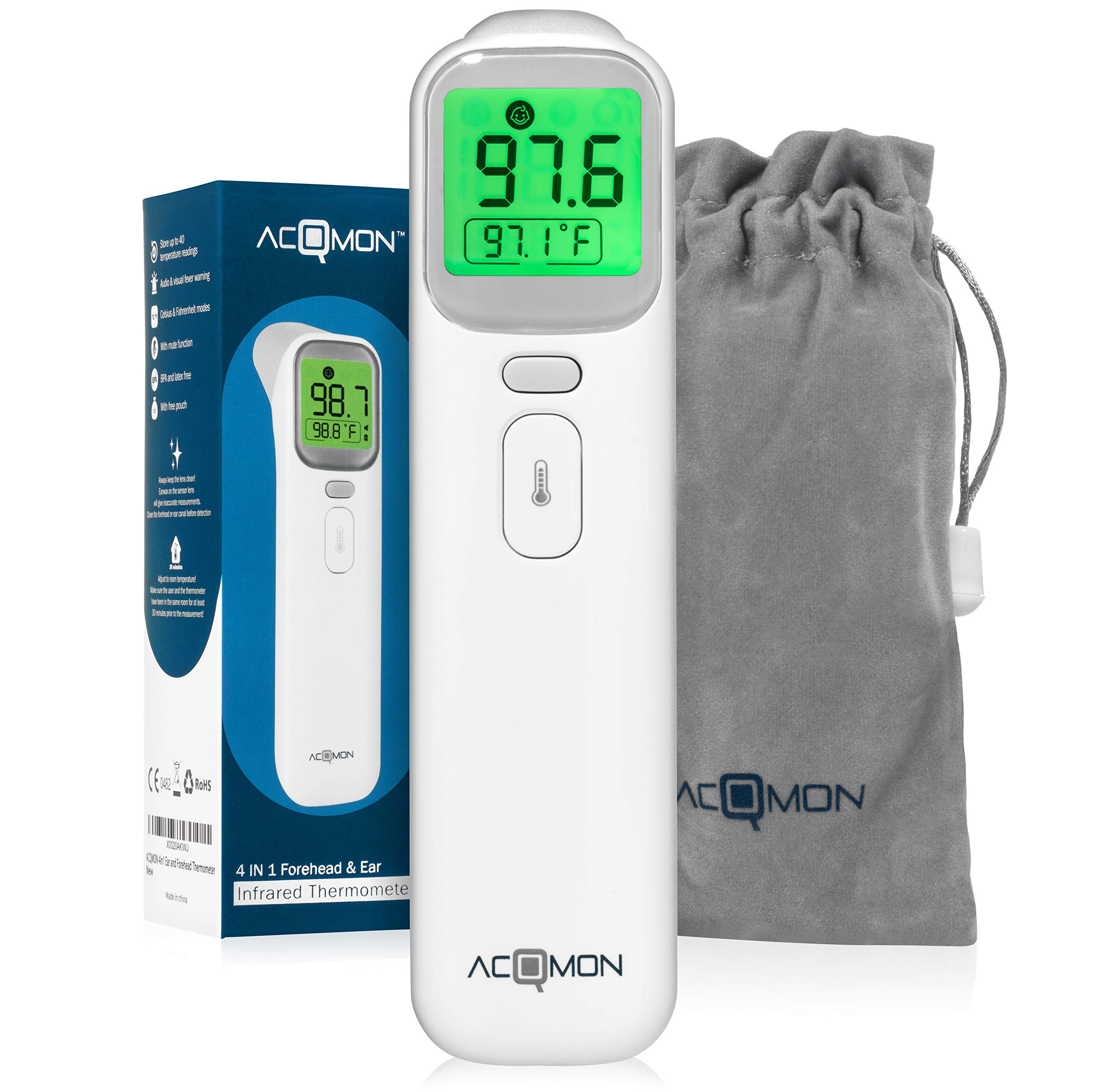 ACQMON Digital Ear Thermometer with Forehead Temporal Function - Medically Approved Technology for Baby, Child & Adults with Object Mode