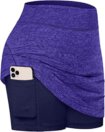 Fulbelle Casual Skirts for Women, Teen Girls Summer Athletic Tennis Skirt Golf Skorts with Pockets Workout Running Sport Inner Shorts Sporty Spandex Training Outfit Purple Large
