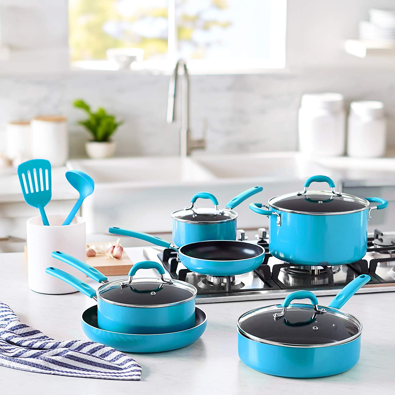 Amazon Basics Ceramic Non-Stick 12-Piece Cookware Set, Turquoise - Pots, Pans and Utensils