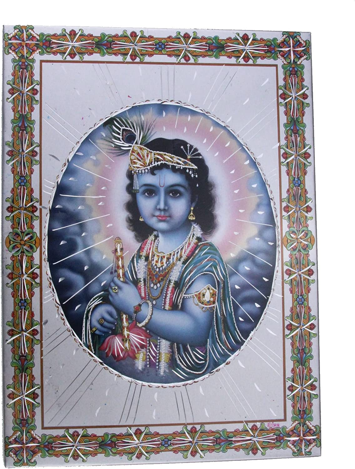 "Lakshmi Standing Aluminium Hindu God Photo Frame Traditional Hanging 6""x8"""