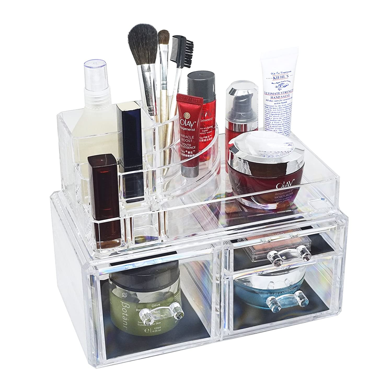 D'moda Designs Crystal Clear Acrylic Two Piece Makeup And Jewelry Organizer Set With Tray, Medium And Large Storage Drawers For Lipstick, Brushes, Compacts, Nail Polish And Cosmetics by D'moda Designs