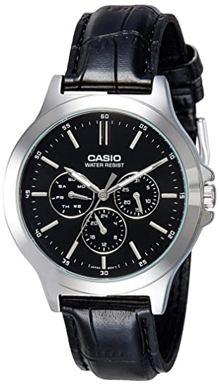 Amazon.com: Casio Multi-Dial Black Leather Mens Watch MTP-V300L-1AV: Watches
