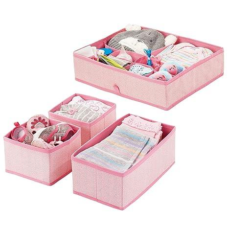 mDesign Juego de 4 cajas organizadoras en polipropileno para habitaciones infantiles – Cestas de tela para accesorios de bebé – Organizadores para ...