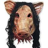 Máscara de cabeza de cerdo unisex con pelo de animal, máscara de sierra de animales para mascarada, fiesta de látex, Halloween, Navidad